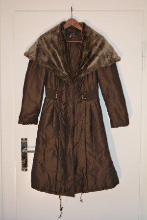 Zara Manteau d'hiver brun foncé fibre synthétique