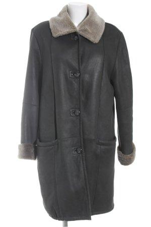 Wintermantel schwarz-hellbraun schlichter Stil