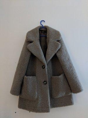 Zara Fake Fur Jacket grey brown-light brown