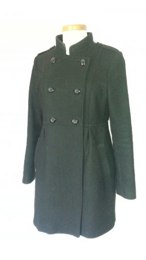 H&M Heavy Pea Coat black wool