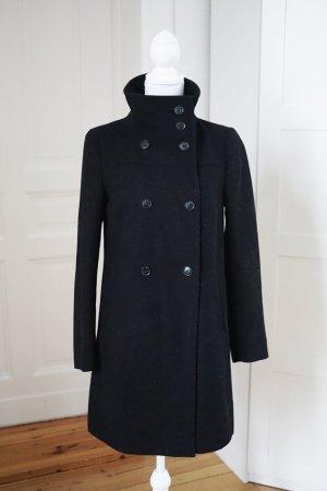 Wintermantel Wolle schwarz elegant schick Business Jacke Kragen warm XS 34
