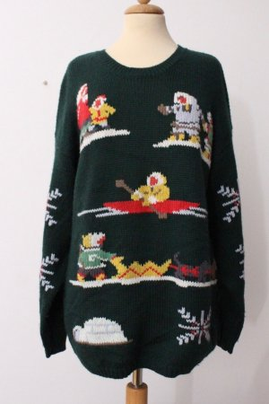 Vintage Christmasjumper multicolored mixture fibre