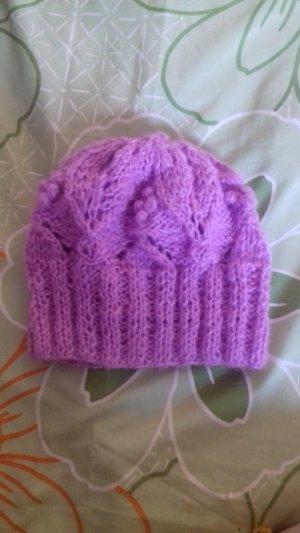 Cappello a maglia rosa Mohair
