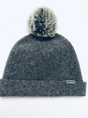 Marc Cain Sombrero de tela gris oscuro-gris claro