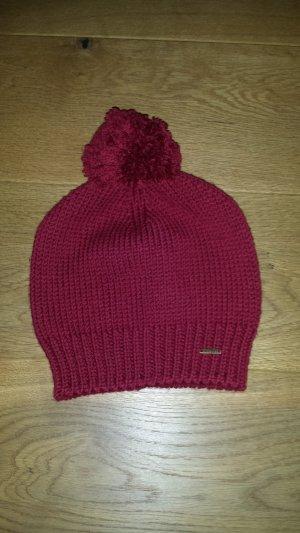 Pure Sombrero de punto carmín lana merina