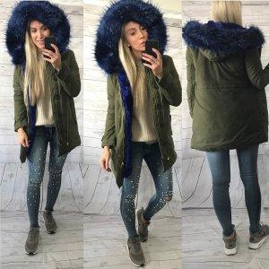 Winterparka jacke mantel cardigan mit fake fur khaki blau gr. S