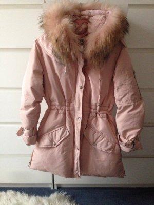 Winterparka mit Echt-Pelz in rosa NEU
