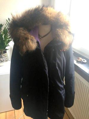 Winterparka von iSILK, dunkelblau mit Pelzkragen, Gr M