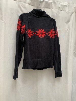 Winterpulli Mogul, Strickweste, dunkelblau mit roten Schneesternen, Norwegerpulli, Gr. S