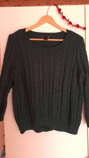H&M Cable Sweater dark green
