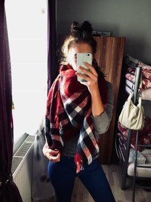 Bufanda rojo oscuro-blanco