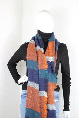 H&M Bufanda de lana azul-rojo Algodón