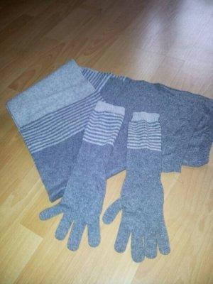 Winterset, grau, Schal und Handschuh
