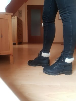 New Look Lace-up Boots black-white