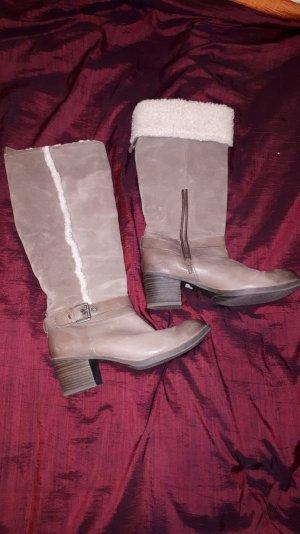 Chaussure à talons carrés argenté-gris brun