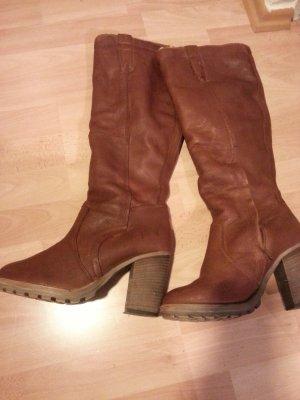 Platform Boots cognac-coloured leather