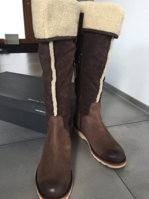 Marc O'Polo Fur Boots bronze-colored-grey brown leather