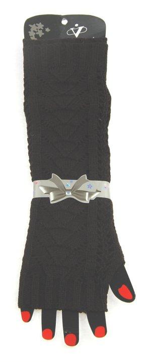 Winterstulpen für Damen, gestrickt, dunkelbraun, ca. 30 cm lang