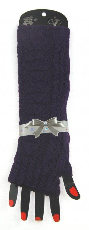 Winterstulpen für Damen, gestrickt, dunkelviolett, ca. 30 cm lang