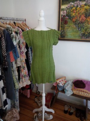 Long Cardigan forest green merino wool