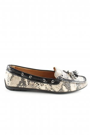 Wirth 1948 Mocassins blanc cassé-noir motif animal style d'affaires