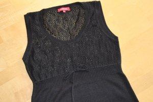 Wissmach Vestido tipo túnica negro tejido mezclado