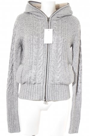 Witty Knitters Coarse Knitted Jacket light grey cable stitch casual look