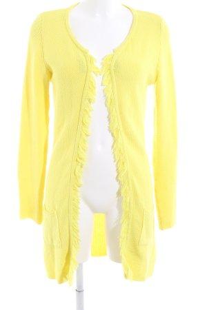 Witty Knitters Cárdigan de ganchillo amarillo pálido look casual