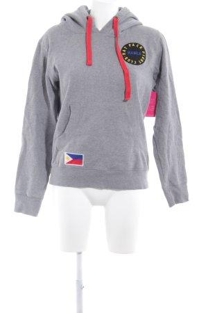 Witty Knitters Kapuzensweatshirt grau Motivdruck schlichter Stil