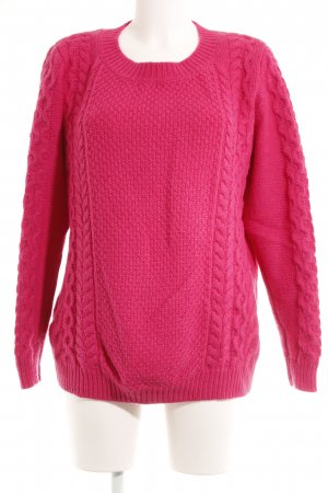 Witty Knitters Longpullover magenta Zopfmuster Casual-Look