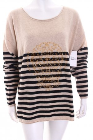 Witty Knitters Pullover schwarz-beige Casual-Look