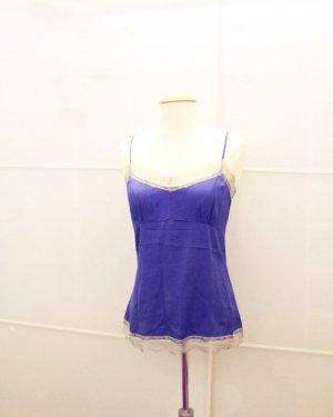 Witty Knitters Seiden top blau spitze S 36/38 sexy Dessous Sommer Oberteil