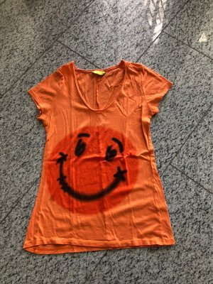Witty Knitters T-Shirt in orange mit Aufdruck