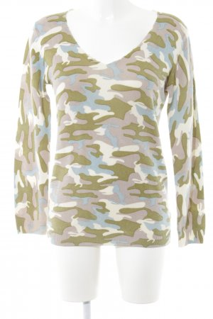 Witty Knitters V-Ausschnitt-Pullover Camouflagemuster Casual-Look