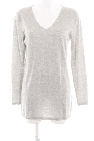 Witty Knitters V-Ausschnitt-Pullover hellgrau meliert Casual-Look