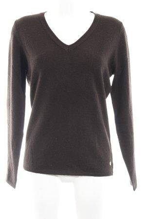 Witty Knitters V-Ausschnitt-Pullover dunkelbraun Casual-Look