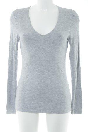 Witty Knitters V-Ausschnitt-Shirt hellgrau-weiß meliert Casual-Look