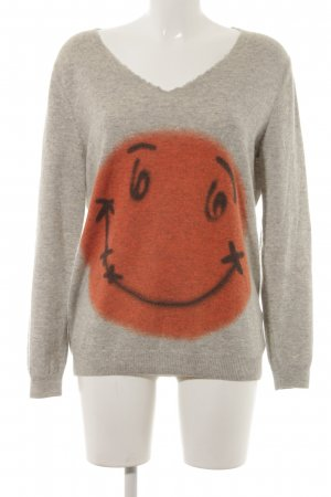 Witty Knitters Wollpullover Motivdruck Casual-Look