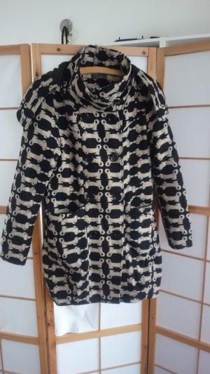 Nümph Manteau à capuche noir-blanc cassé