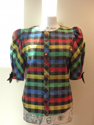 witzige bunte Bluse im Retrolook mit Karos-auch für das Clownkostüm zu verwenden