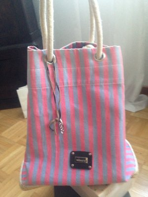 Pouch Bag pink-slate-gray cotton