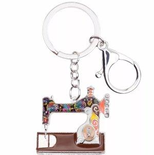 Witziger Schlüssel-/ Taschenanhänger Nähmaschine, braun-bunt, silber *NEU