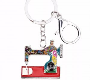 Porte-clés argenté-rouge