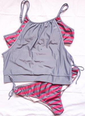 Tankini grey-pink polyester