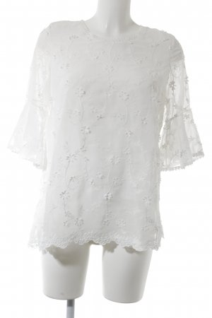 Wiya Spitzenbluse weiß florales Muster Romantik-Look