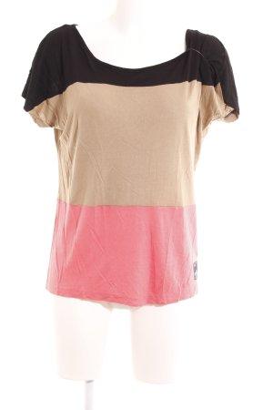 wld T-Shirt schwarz-beige Streifenmuster sportlicher Stil