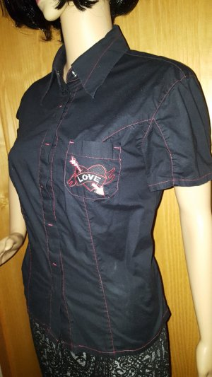Camisa de manga corta negro-rojo ladrillo