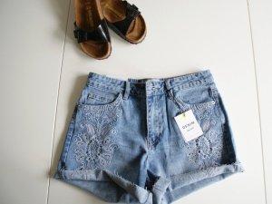 New Look High waist short blauw-lichtblauw
