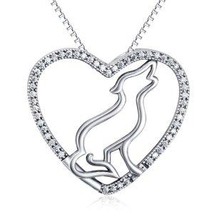 Wolf-Herz-Halskette 925 Sterling Silber