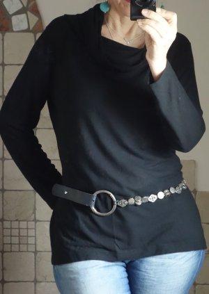 Wolff Rolli Feinstrick Pullover mit weitem, lockerem Rollkragen, Basic, Longpulli, schwarz, feines Material, 50% Viskose, 50% Polyester, made in Austria, Qualitätsmarke, neuwertig, Gr. 42, Gr. L